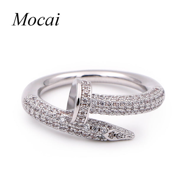 Fashion Nail Rings Simple Brand Designer Gold Color Micro Pave