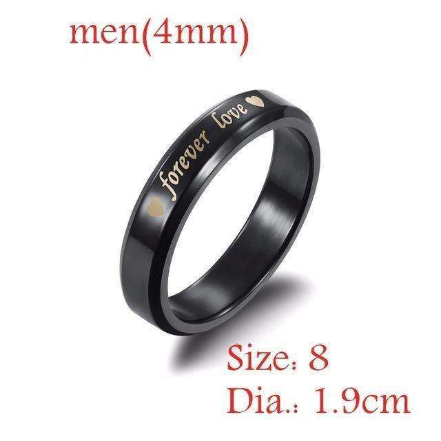 1 Pcs Simple Steel titanium Forever love Couple Rings Wedding Band His