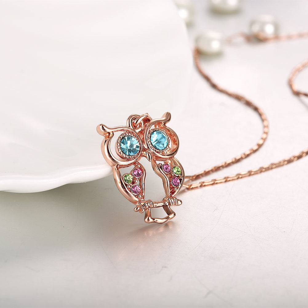 2017 Fashion Statement Necklace for Women Crystals Lovely Owl