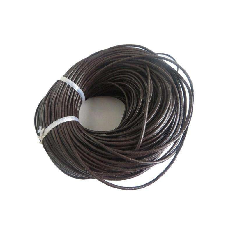 10 Meters Round Dark Brown Genuine Leather Findings Cord String Lace
