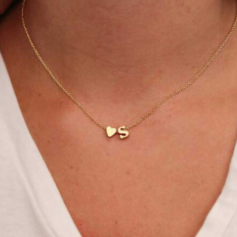 TOMTOSH Fashion Personalized love heart Letter Alphabet Pendant Necklace Initial Necklaces Charms For Women Mini Jewelry Chain