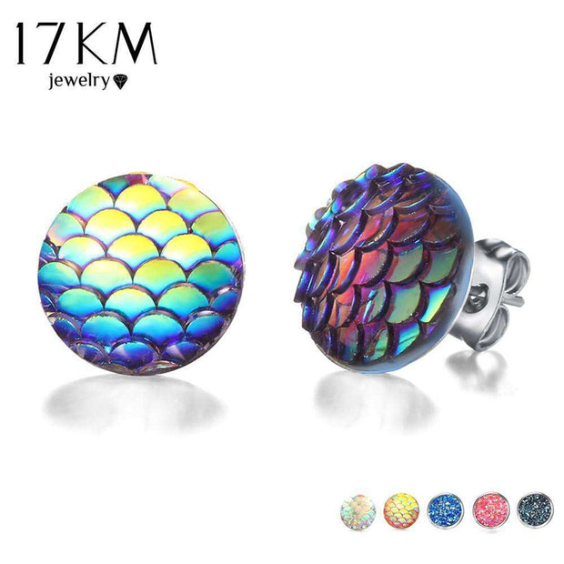 17KM Multicolor Holographic Round Mermaid Stud Earrings Brincos