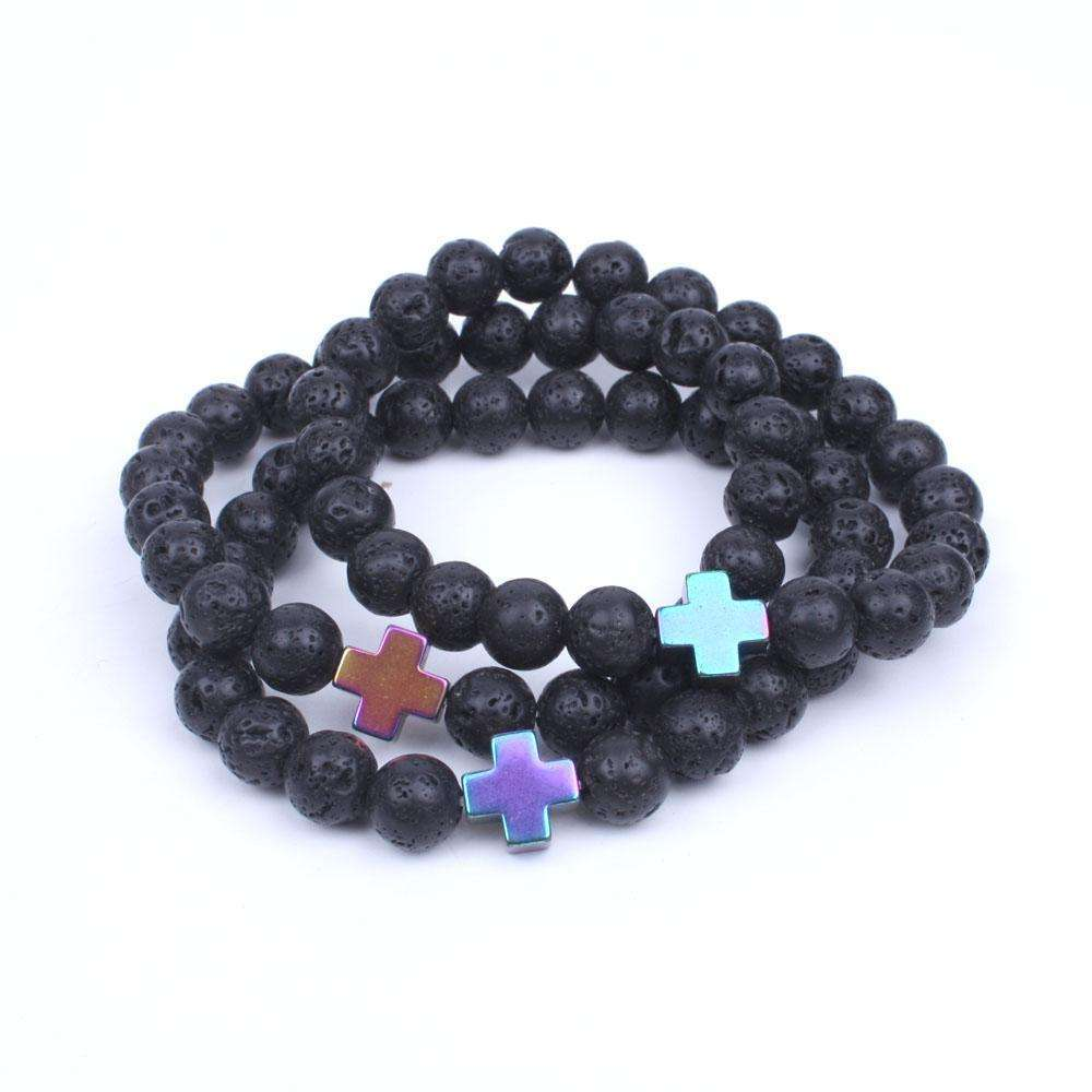 10pcs/lot 8mm lava beads bracelets with cross Hematite Natural stone