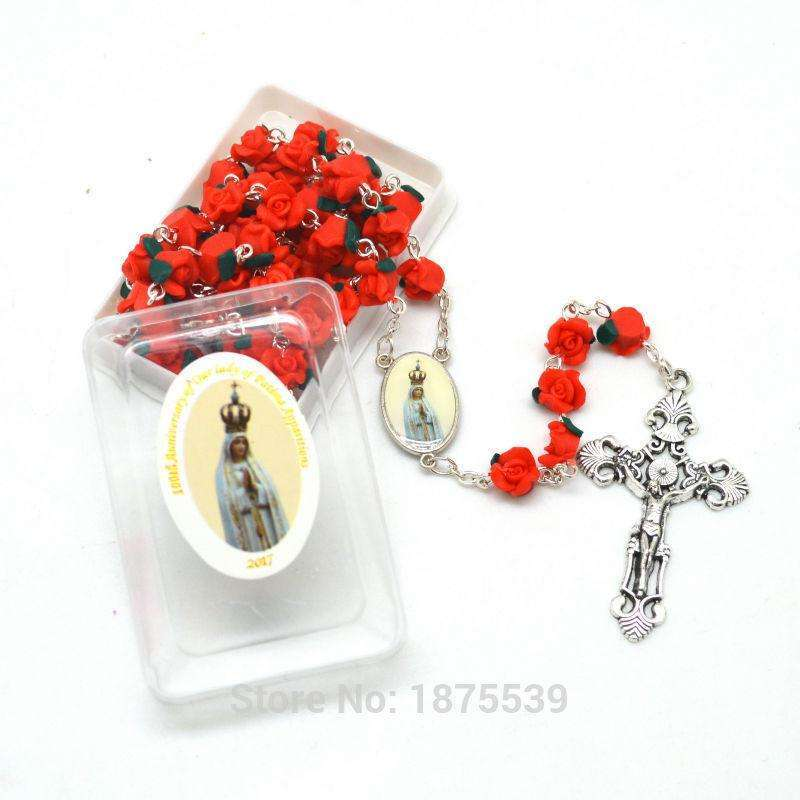100th Anniversary Fatima Rosary Red Pink Polymer Flower Bead Rosary