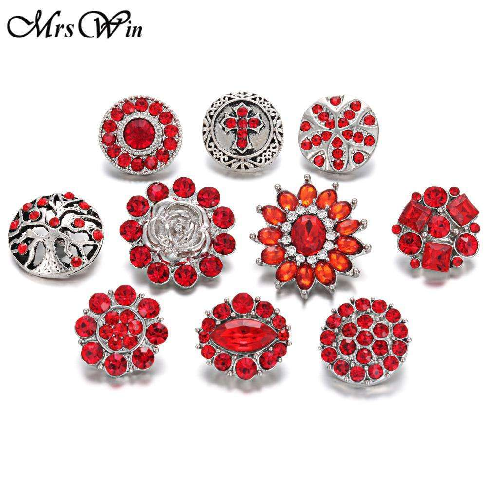 10pcs/lot Mixed Snap Jewelry Lots 10 Design Red Crystal 18mm Snap