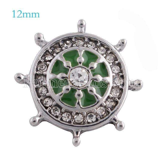 10pcs/lot New anchor snaps Silver Plated with clear rhinestone and