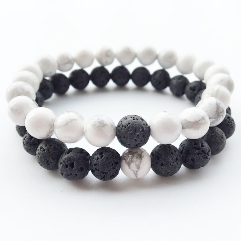 Lovers Yin Yang Distance Bracelets Natural  Lava stone Howlite Bead