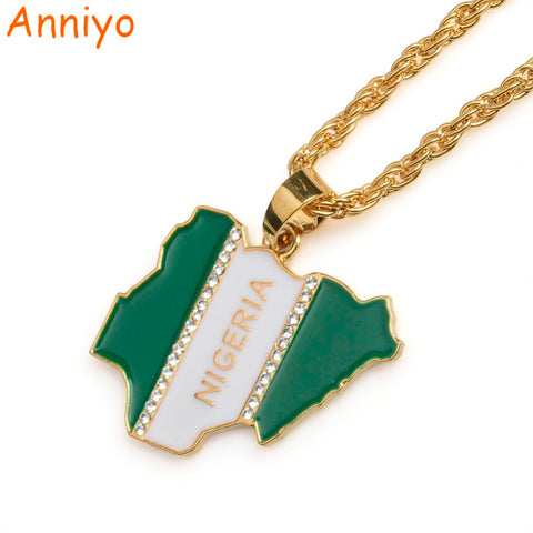 Anniyo Nigeria Map Flag W/Rhinestone Pendant Necklaces for Women/Men Silver/Gold Color Nigerian Jewelry Patriotic Gift #068806