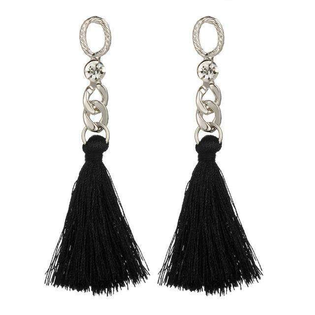 17KM 2 Color Chandelier Tassel Drop Earrings Vintage Long Crystal