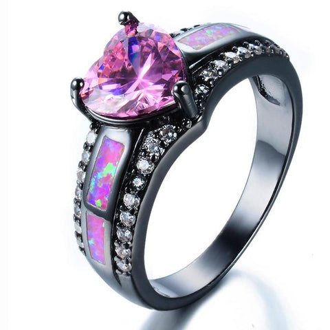 JUNXIN Romantic Female Princess Pink Fire Opal Heart Ring Black Gold Filled Jewelry Promise Engagement Rings For Women
