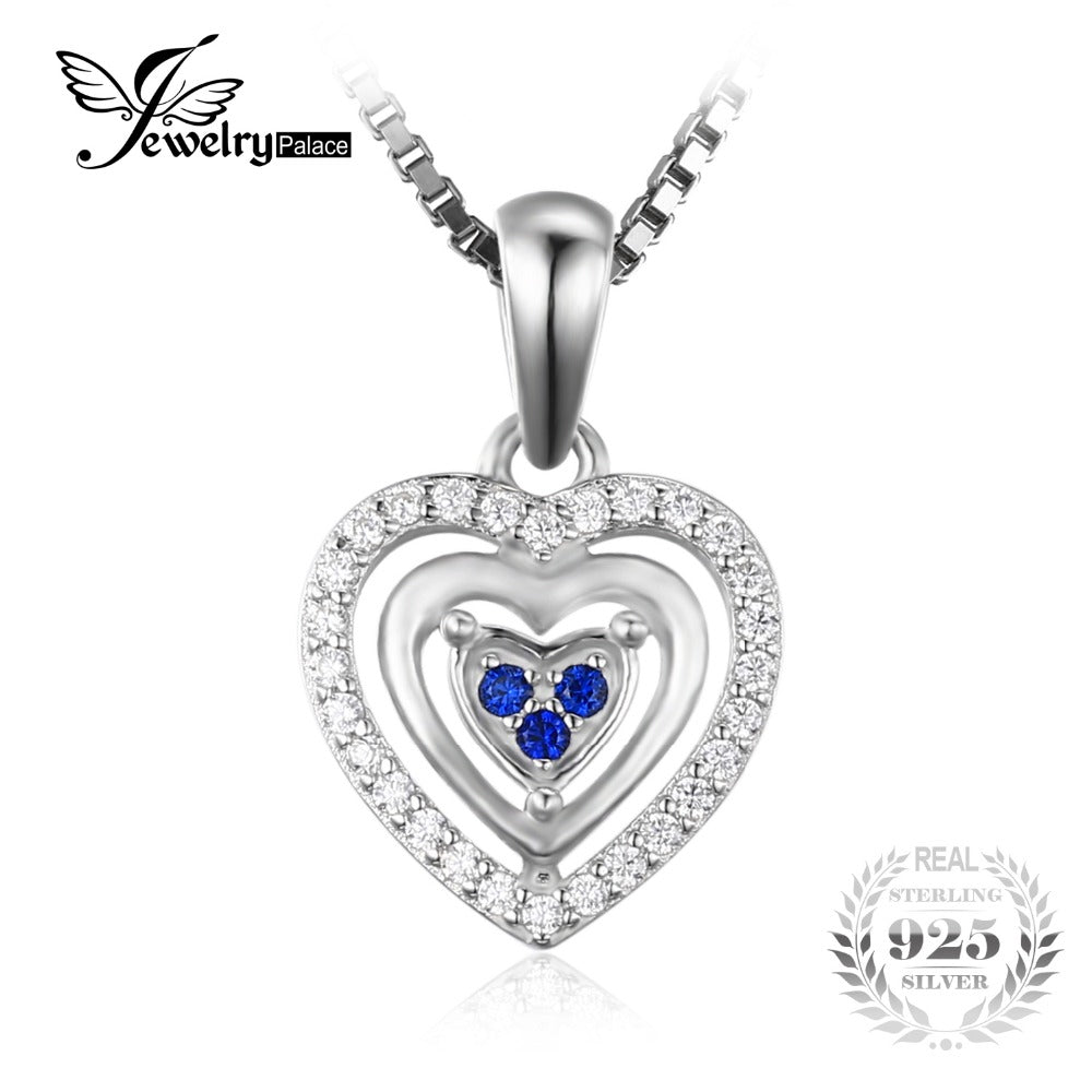 JewelryPalace Heart Love Round Created Blue Spinel Pendant 100% 925