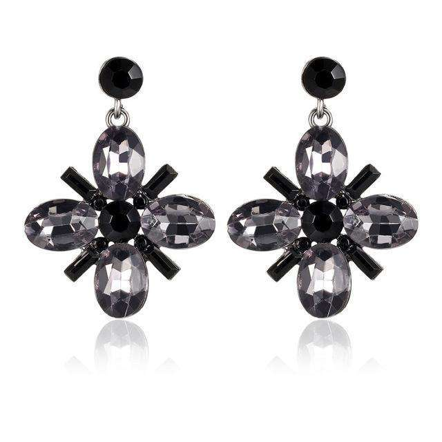 17KM Crystal Flower Drop Earring for Women Rhinestones Long Earrings