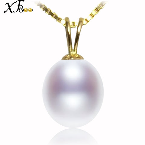XF800 18K Yellow Gold Necklace Pendant Natural Freshwater 9-10mm Pearl Jewelry Wedding Party Gift For Women Girl D227