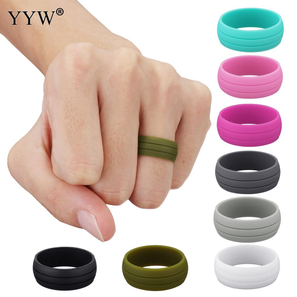 YYW Simple Punk Women Male Unisex Finger Ring Colorful Silicone Rubber