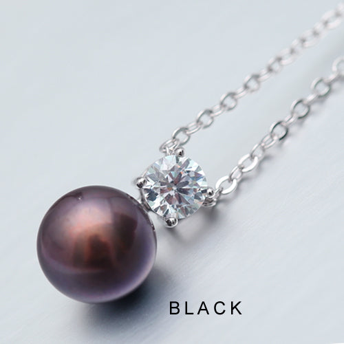 DAIMI Glitter Necklace 9-10mm Natural White Pearl Pendant 925 Sterling
