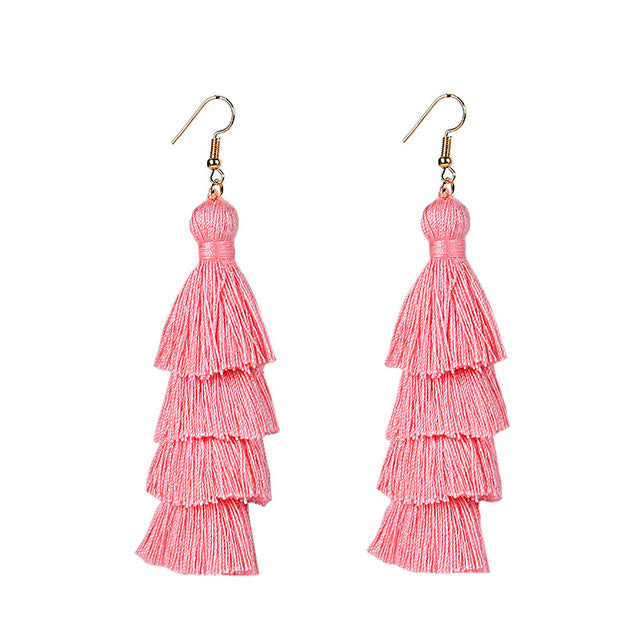 LWONG 2017 Summer Neon Tiered Long Tassel Earrings for Women 4 Layered
