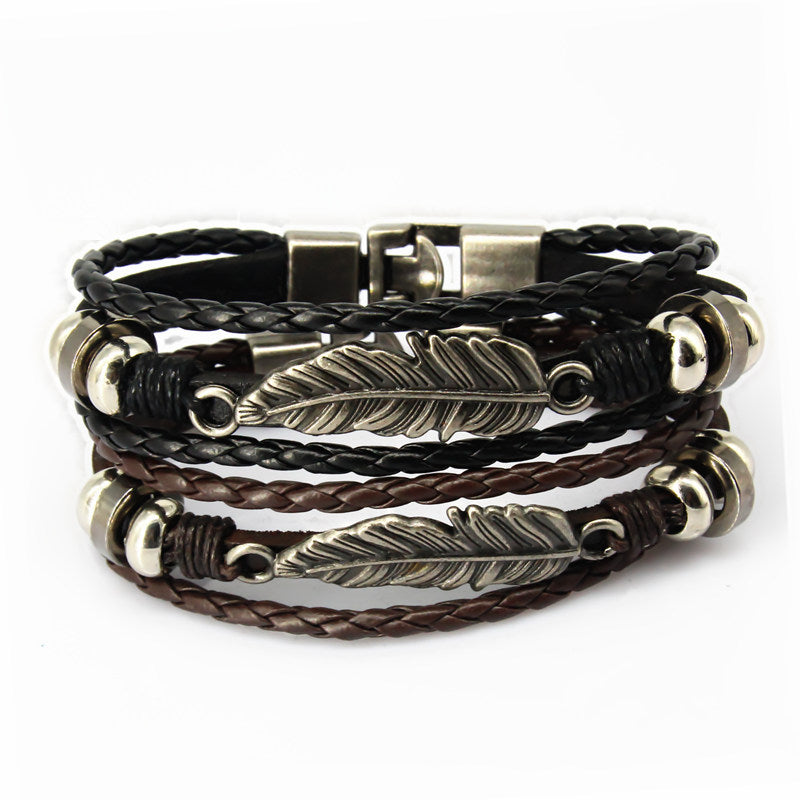 Punk styles wrap real leather bracelet men 2017 friendship Bracelets