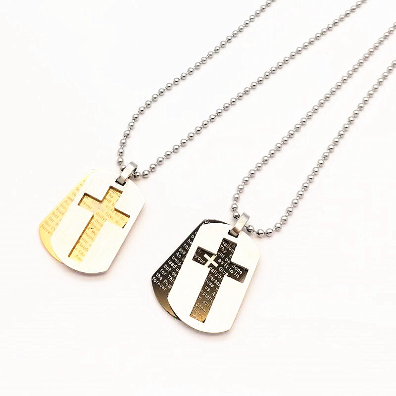 2017 Collare Bible Lords Prayer Cross Stainless Steel Army Necklaces &