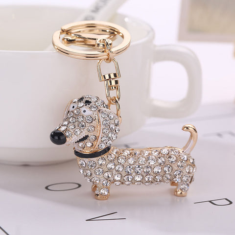 Fashion Rhinestone Dog Dachshund Keychain Bag Charm Pendant Keys Holder Keyring Jewelry For Women Girl Gift Keychain Jewelry New
