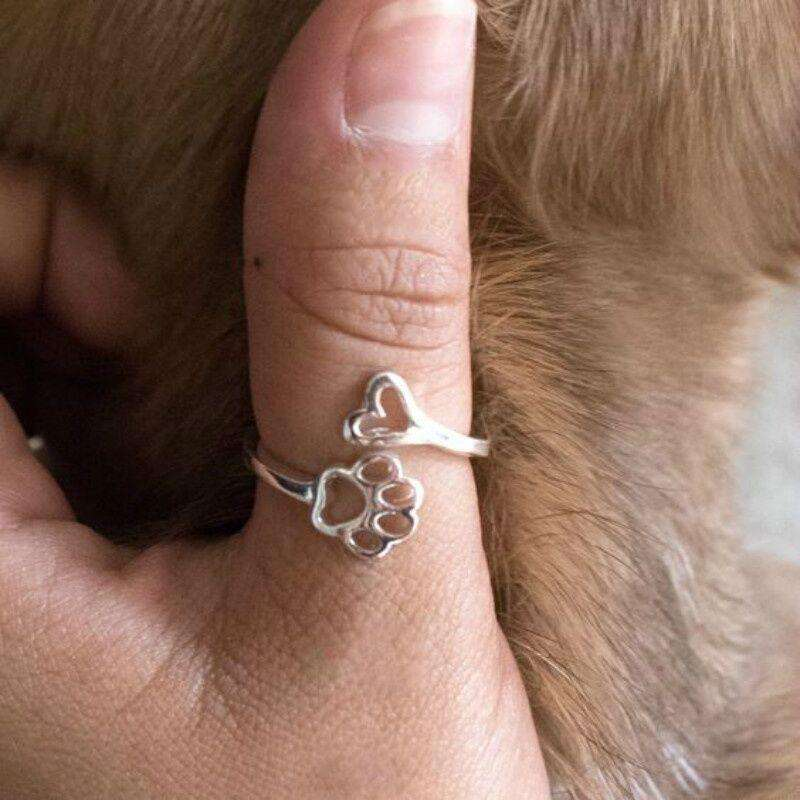1pc Women's New Fashion Love Heart Animal Jewelry Dog Paw Print Ring