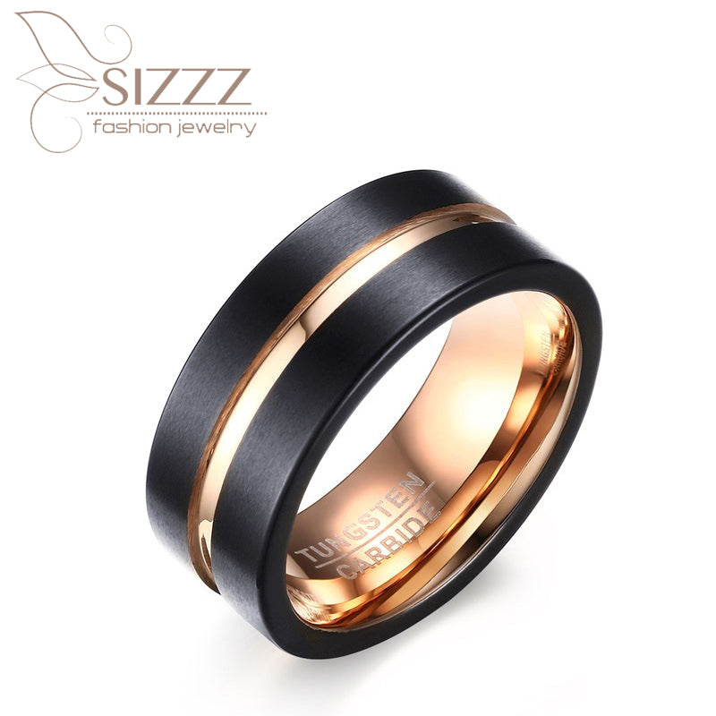 2017 New Arrival Man's 8mm Black Between Gold Color Tungsten Steel