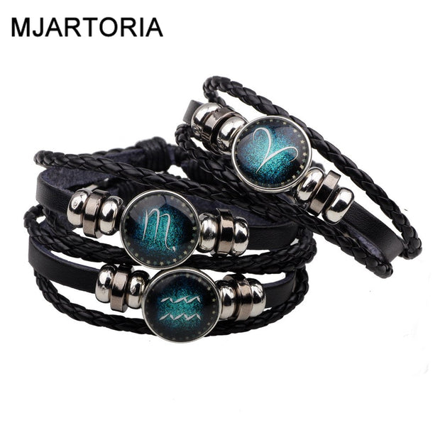 MJARTORIA 12 Constellation Zodiac Signs Bracelet Mens Bracelets beaded
