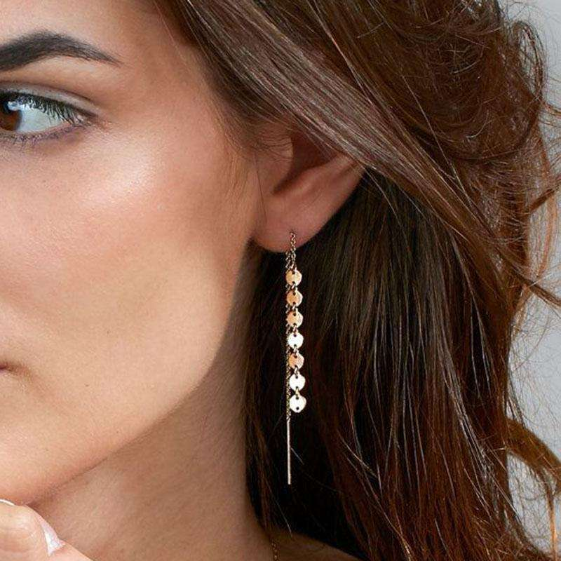 1Pair  Women Fashion Round Zinc Sequins Earrings New Design Tassel