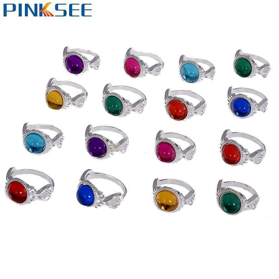10pcs Wholesale Silver Color Colorful Acrylic Stone Rings For Kid