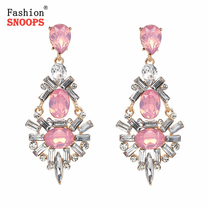 2017 Fashion Big Vintage Drop Crystal Earring Bohemia Maxi Statement