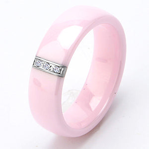 2017 6MM Pink Ring Women Crystal Stainless Steel Ceramic Engagement Rings Promise Wedding Band Pink Rings Gift For Women Jewelry 8248207-6-pink for $26.99 USD  10-100, 10-50, bracelete-and-bangles, Jordan's Jewlery, new-arrivals, over-10, rings, wedding-and-engagement-jewlery