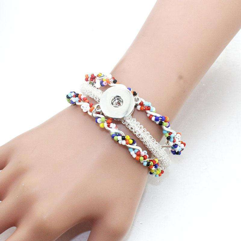 18MM Snap Button Women Flower Metal Bangle Elasticity Bracelet Retro