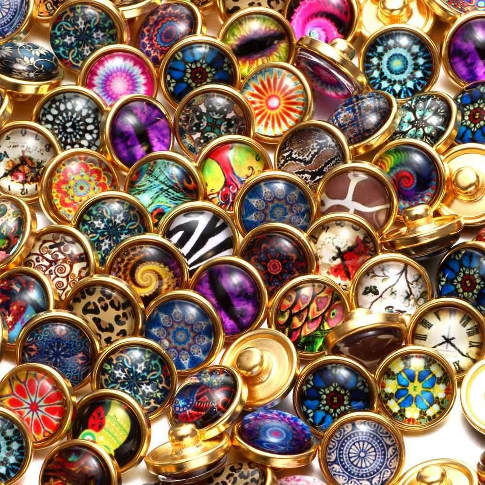 100pcs/lot Mixed Pattern Glass Gold Charms 12mm Snap Button Jewelry