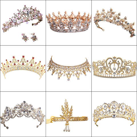Hot Sale Vintage Gold tiara Crystal Wedding Crown For Bride Hair