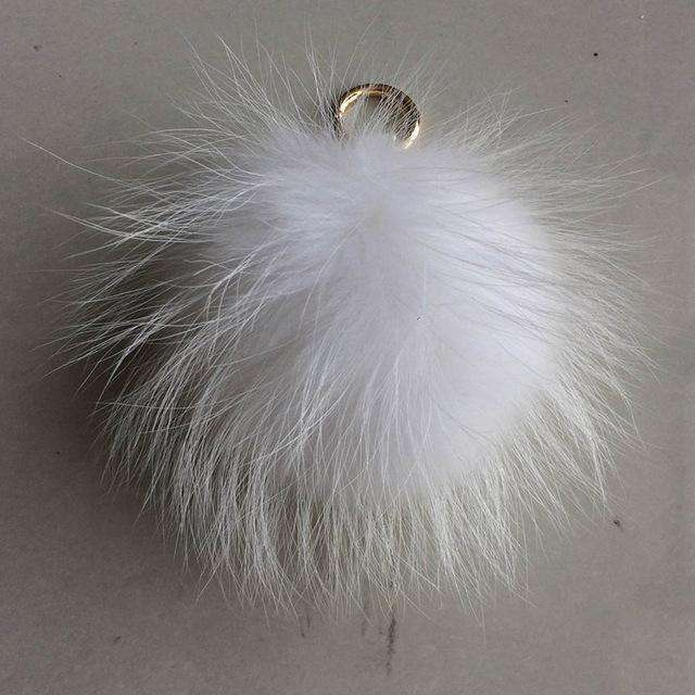100% Real Raccoon Fur Pom Pom Keychain on Bag 15cm Fluffy Fur Ball Key