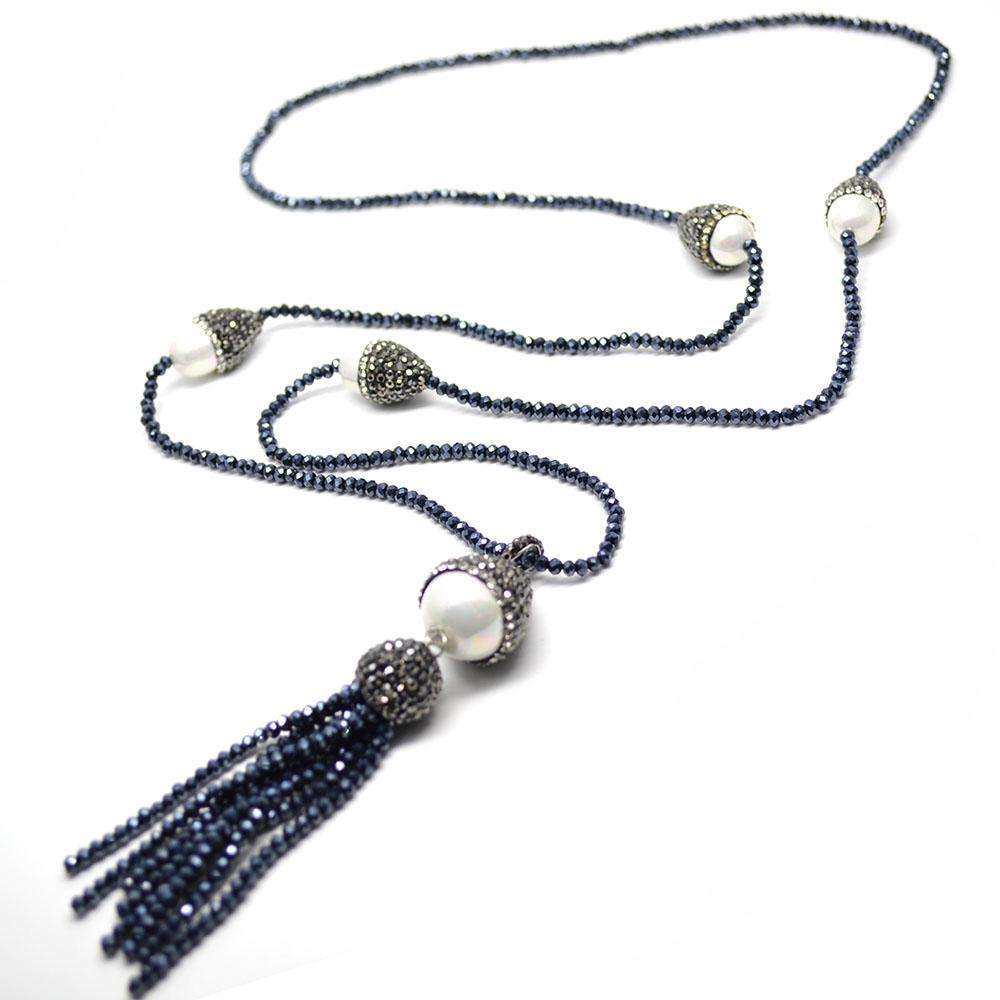 1pc Hematite Color Glass Crystal Seed Beads Tassel Shell Pendant