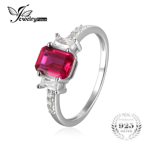JewelryPalace Modern 4.4ct Emerald Cut Created Ruby & CZ Engagement Rings For Women Gift 925 Sterling Silver Charms Fine Jewelry