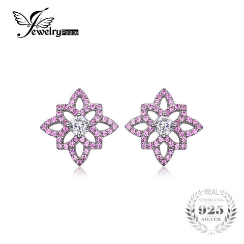 JewelryPalace Trendy 0.93 ct Created Pink Sapphire & CZ Flower Stud Earrings For Women 925 Sterling Silver Wedding Fine Jewelry