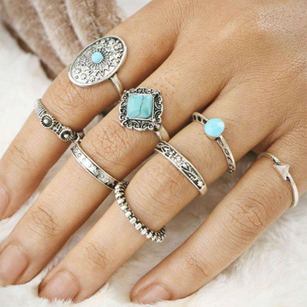 1Set Hot sale Punk Vintage Knuckle Rings Tribal Ethnic Hippie Stone