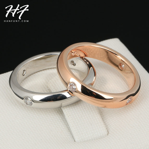 Simple CZ Lover's Ring Rose Gold Color Burnish 4 Pieces Rhinestone