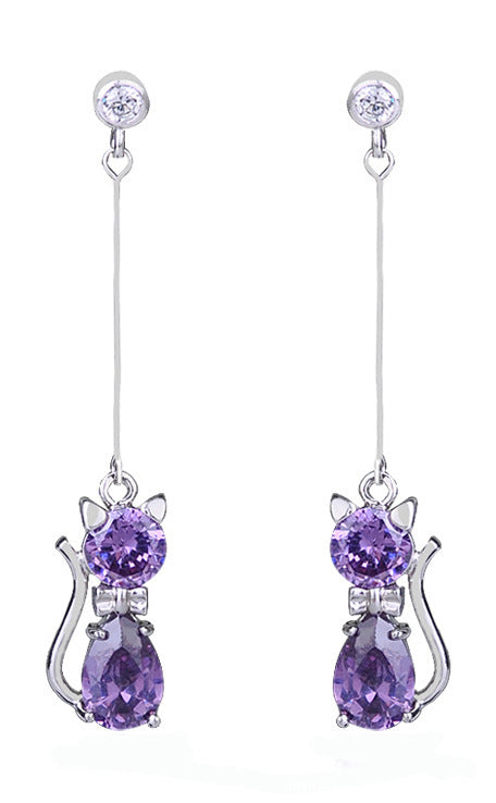 Crystal Cat Earing Long Earrings For Women Animal  Korean cubic