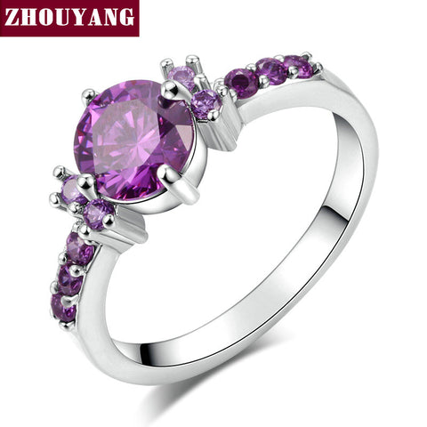 Silver Color Fashion Elegant Purple Crystal Wedding & Engagement For