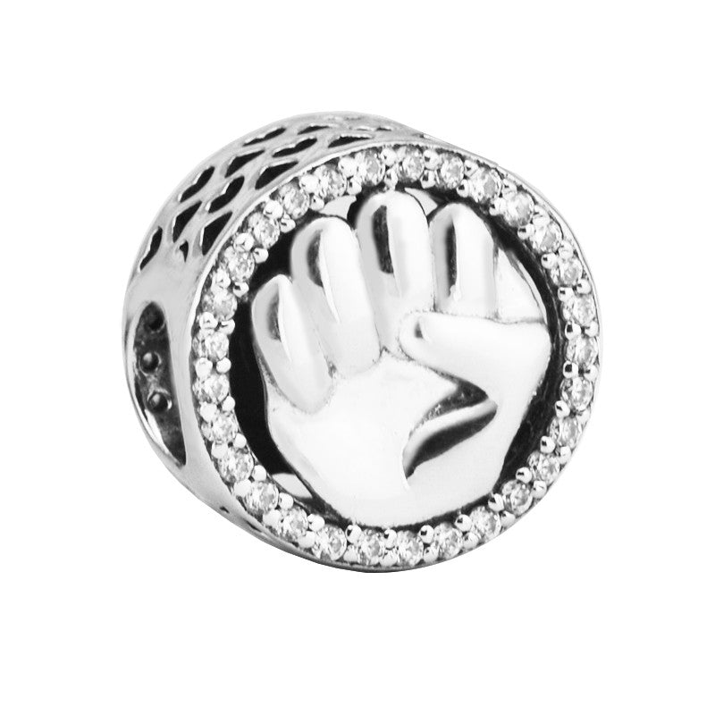 CKK 100% 925 Sterling Silver Hold Charm with Clear Cz Beads for