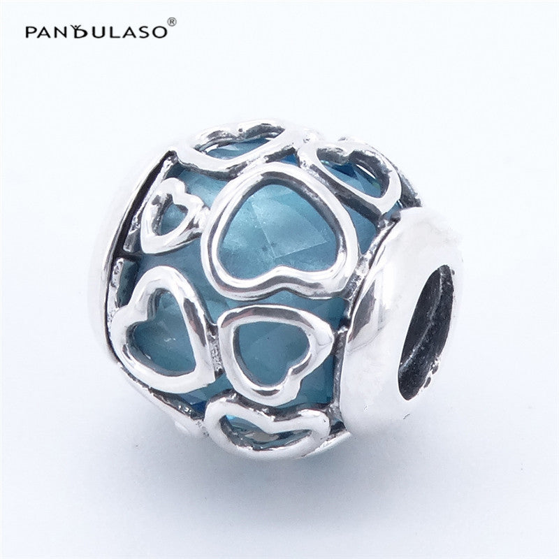 Pandulaso Encased in Love Blue Beads 925 Sterling Silver Jewelry beads