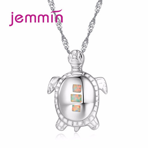 Jemmin Women White Opal Turtles Pendant Necklace New Fashion Animal Wedding Jewelry 925 Sterling Silver Necklaces Gift