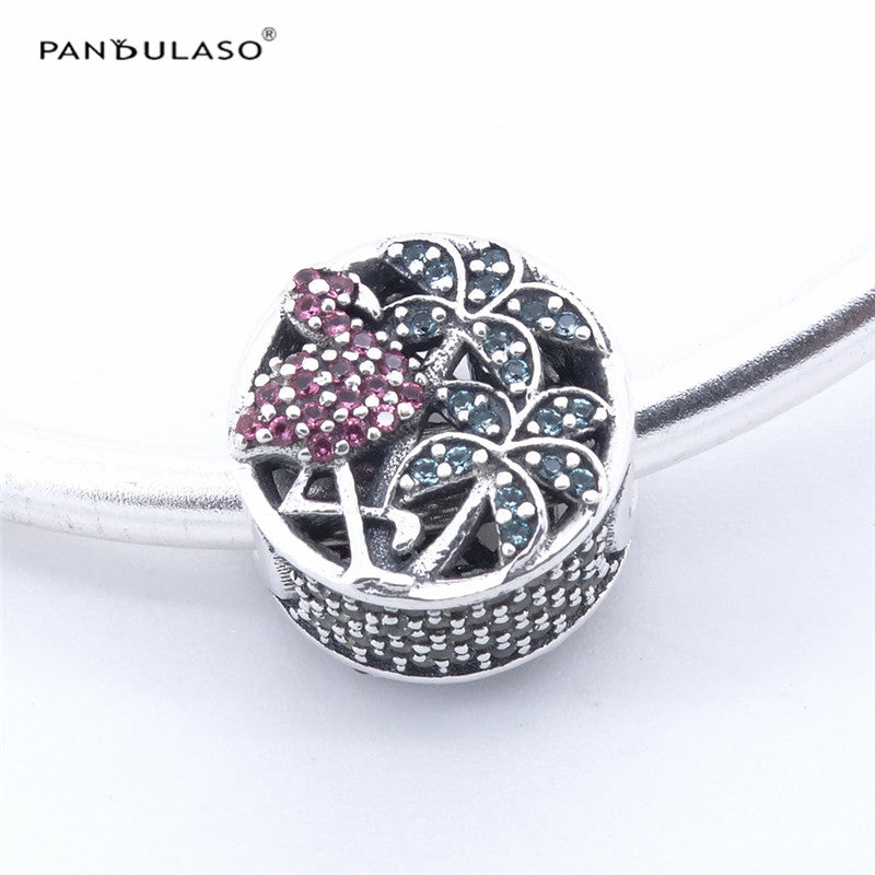 Pandulaso Collection Tropical Flamingo Charm Fit Brand Bracelets &