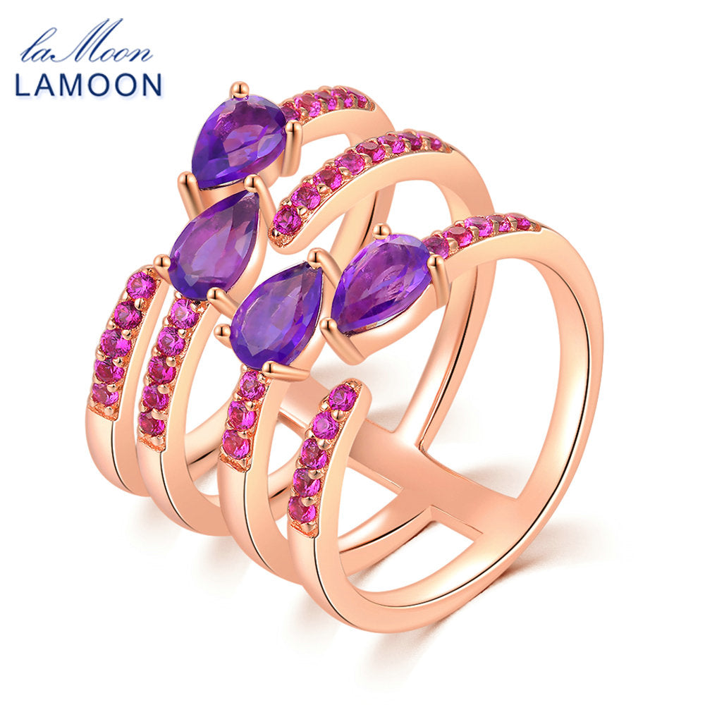 LAMOON Bridal Sets Ring 4 Pieces 100% Natural Amethyst 925 Sterling