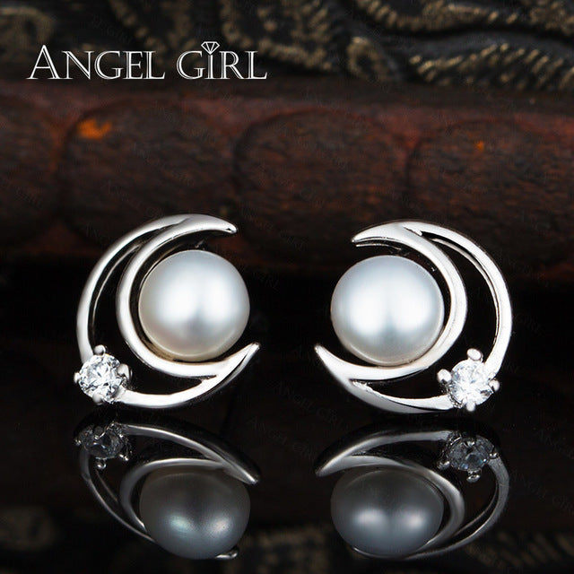 Angel Girl Stud Earring For Girls Freshwater Pearl 925 Sterling Silver