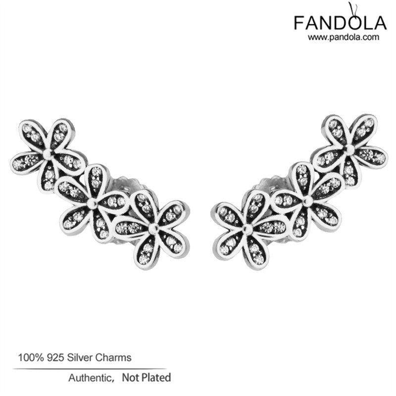 Dazzling Daisies Earrings 925 Sterling-Silver-Jewelry Clear CZ