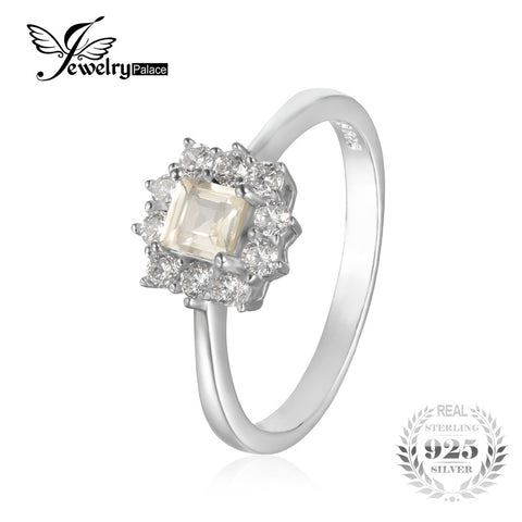 JewelryPalace Classic 0.65 ct Square Natural Lemon Quartz Ring Solid 925 Sterling Silver Engagement Rings For Women Fine Jewelry