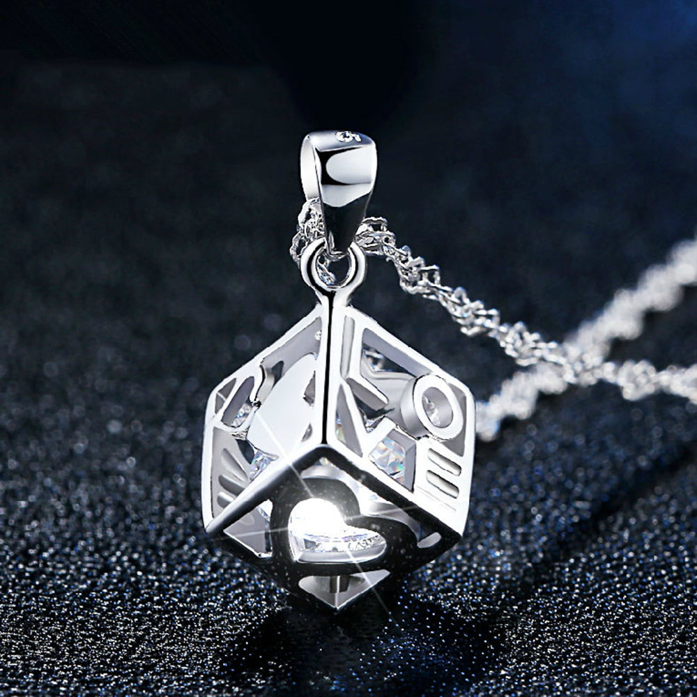 Hot Sale 925 Sterling Silver Pendants Necklaces Love Cube Crystal